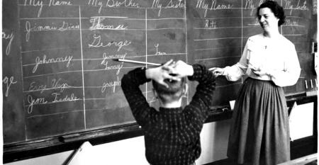 Stock Photo – teacher student blackboard